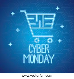 cyber monday neon lettering with shopping cart