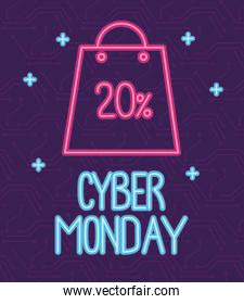 cyber monday neon lettering with shopping bag and percent discount