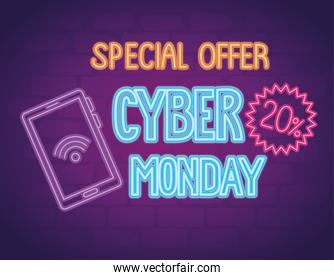 cyber monday neon lettering with smartphone and lace