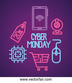 cyber monday neon lettering with set icons