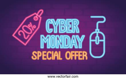 cyber monday neon lettering with mouse and percent tag