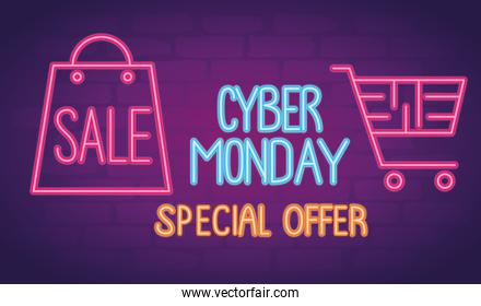 cyber monday neon lettering with shopping bag and cart