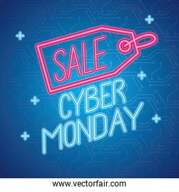 cyber monday neon lettering with tag