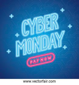 cyber monday neon lettering label