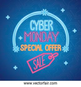 cyber monday neon lettering with sale in tag