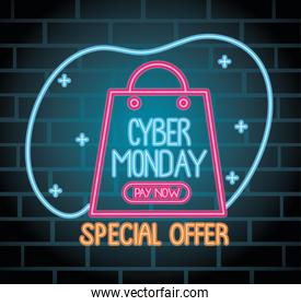 cyber monday neon lettering with shopping bag