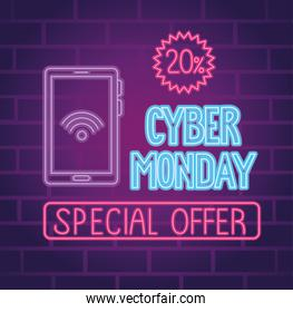 cyber monday neon lettering with smartphone and seal