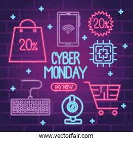 cyber monday neon lettering with bundle icons