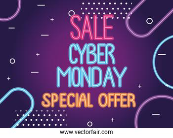 cyber monday sale neon lettering label