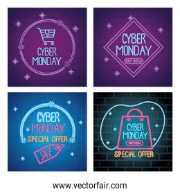 cyber monday neon letterings in colors templates