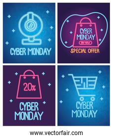 cyber monday neon letterings blue and purple templates