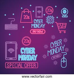 cyber monday neon letterings in purple background
