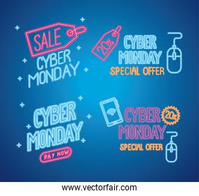 cyber monday neon letterings in blue background