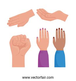 international human rights poster with interracial hands differents positions