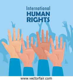 international human rights lettering poster with hands up