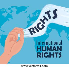 international human rights lettering poster with hands waving white flag