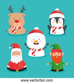 bundle of five happy merry christmas set icons