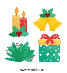 bundle of four happy merry christmas set icons