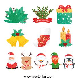 bundle of eleven happy merry christmas set icons