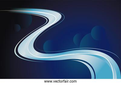 colorful light trail in blue background