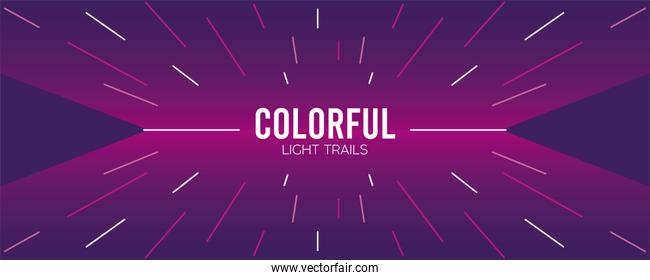 colorful light trail in purple background