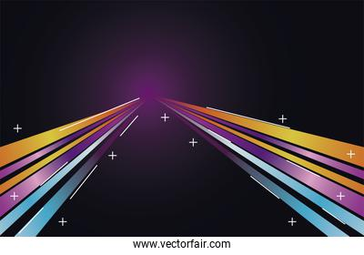 colorful light trail in blue with yellow and purple colors