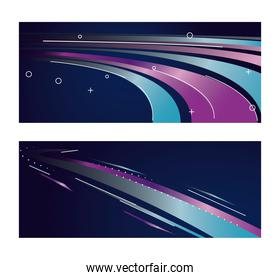 colorful light trail in purple and blue backgrounds