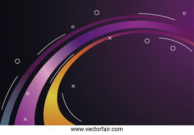 colorful light trail in purple and yellow background