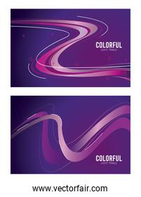 colorful light trail in purple backgrounds