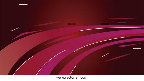 colorful light trail in red background