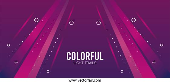 colorful light trail in pink background