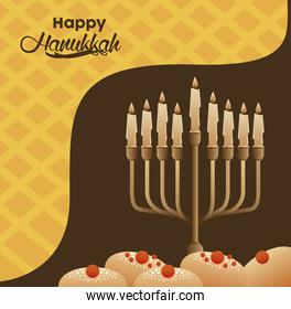happy hanukkah celebration with candelabrum and breads