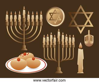 happy hanukkah celebration with candelabrums and set icons