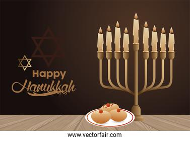 happy hanukkah celebration with candelabrum and food in dish