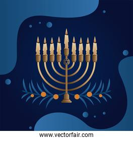 happy hanukkah celebration with candelabrum and leafs