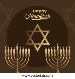 happy hanukkah celebration with candelabrums and star