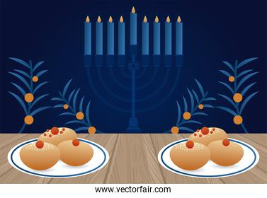 happy hanukkah celebration with candelabrum and dishes and food