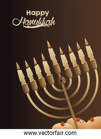 happy hanukkah celebration with candelabrum and sweet breads food