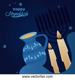 happy hanukkah celebration with candles and teapot
