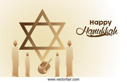 happy hanukkah celebration with jewish star and candles