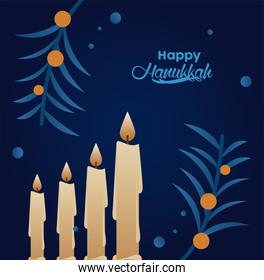 happy hanukkah celebration with lettering and candles