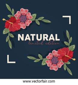 floral frame poster nature with natural word