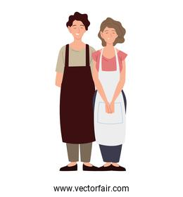 couple the sellers characters wearing apron