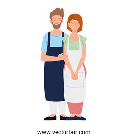 man and woman sellers with apron on white background