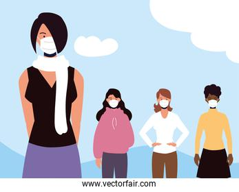 group of women with medical mask as protection against disease coronavirus covid 19