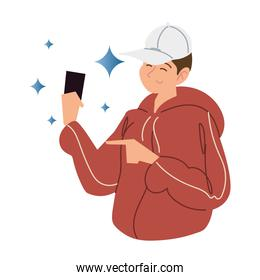 young man wearing sport cap with smartphone