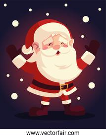 christmas santa claus character with snow on dark background