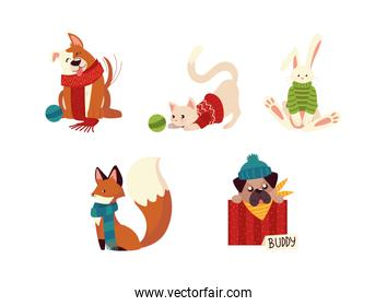 christmas cute dog cat fox and rabbit with hat and sweaters animal cartoon