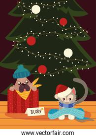 christmas cute dog and cat with scarf and tree animals