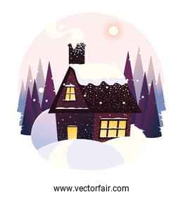 winter landscape house snowfall forest trees panoramic